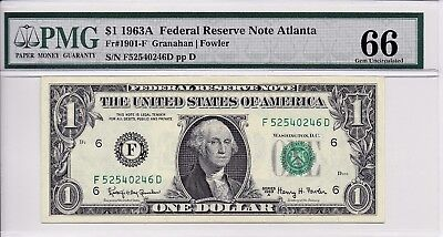 $1 1963A Federal Reserve Note Atlanta S/N F52540246D PMG 66 Gem Unc