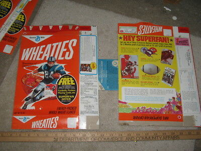 cereal box WHEATIES NFL Football player 1971 premium trading playing cards