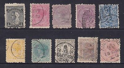 NEW ZEALAND 10 Queen Victoria stamps, USED