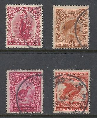 NEW ZEALAND 1907-08 Reduced size set of 4, USED