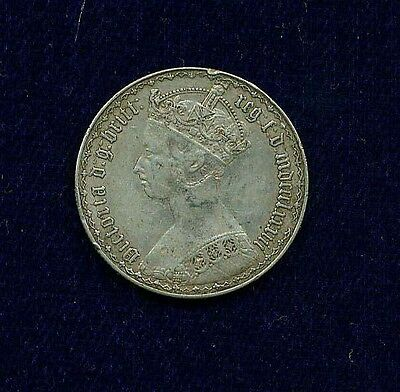 G.b./u.k./england  Victoria  1883  1 Florin Silver  Coin, Xf, Gothic Type!