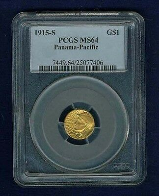 1915-S 1 Dollar Panama-Pacific Gold Coin Choice Uncirculated Certified Pcgs Ms64
