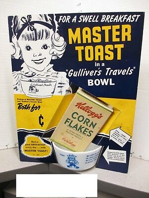 GULLIVER'S TRAVELS 1939 Fleischer cartoon premium bowl store display cereal box