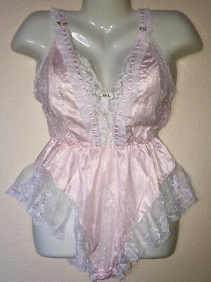 Vintage TOSCA Feminine PINK Silky Sheer NYLON White Lace TEDDY Romper sz SMALL