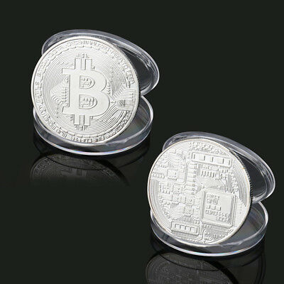 1x Silver Plated Bitcoin Coin Collection Gift BTC Coin Art Collection Physical