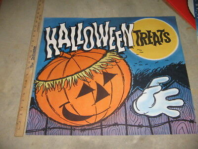 Staley Syrup 1960s HALLOWEEN Pumpkin scary monster store display poster