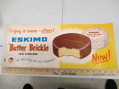 ESKIMO PIE BUTTER BRICKLE 1950s ice cream store display paper poster sign
