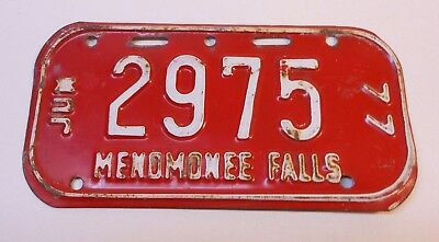 Vintage Wisconsin 1977 Menomonee Falls Bicycle License Plate