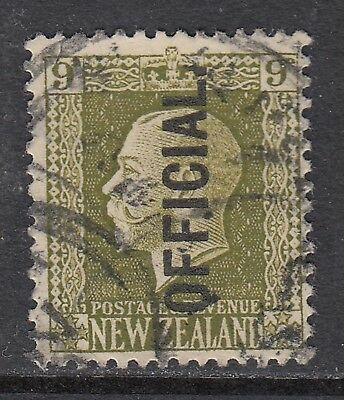 NEW ZEALAND 1925 9d KGV OFFICIAL, USED, cat. £38