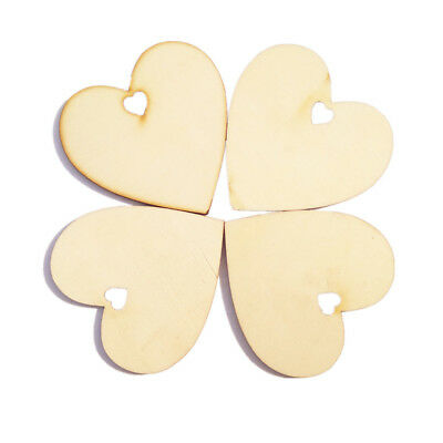 25pcs Unfinished Wooden Pieces Cutout Heart Shapes DIY Craft Scrapbooking