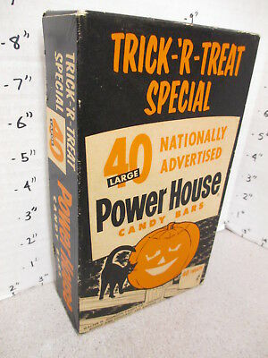 POWER HOUSE 1950s halloween black cat pumpkin candy bar box store display
