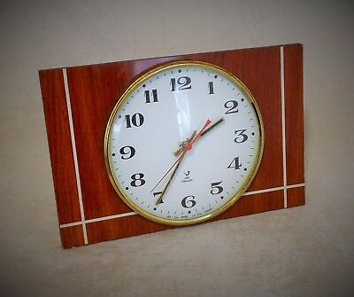 "Superb French Mid Century Battery Wall Clock By "" Jaz "" Melamine Wood Effect"
