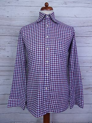 Vintage 1970s Italian Checked Cotton Blend Shirt Mod Northern Soul -S- DT26