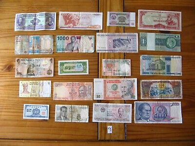 20x INTERESTING VINTAGE WORLD BANK NOTES ALL DIFFERENT AND IN USED CONDITION L9