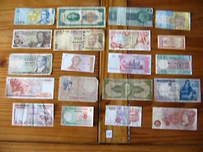 20x INTERESTING VINTAGE WORLD BANK NOTES ALL DIFFERENT AND IN USED CONDITION L16