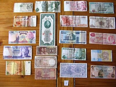 20x INTERESTING VINTAGE WORLD BANK NOTES ALL DIFFERENT AND IN USED CONDITION L1