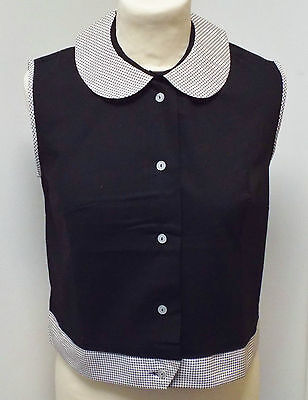 VINTAGE 1970s UNWORN GIRLS BLACK & WHITE PENNY COLLAR ROCKABILLY BLOUSE 11 YEARS