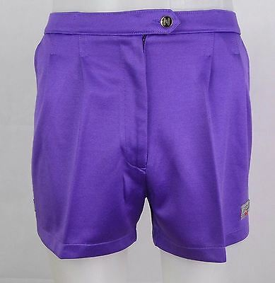 "Vtg 1980s Purple Ladies Pleated Poly Short Japanese Tennis Shorts  -28""- DX73"