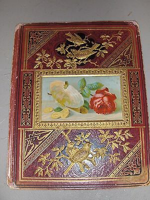 Victorian Brown & Gold Scrapbook Front Cover Only Rose Coins Birds  c1880s