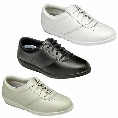 Womens FreeStep Treble Leather Comfort Lace Up Washable Shoes Sizes 3 to 9