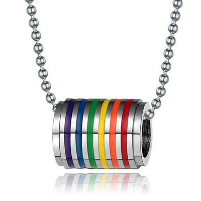 Stainless Steel Rainbow Gay Pride LGBT Unisex PendantLong Chain Necklace Jewelry
