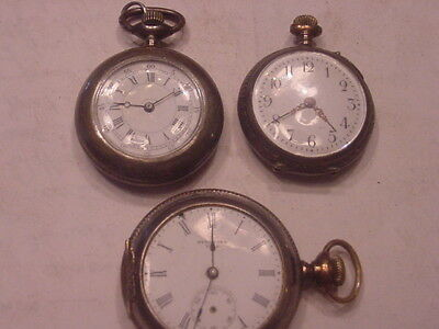Pocket Watches 3 Small 2 Running One .800 Silver Look Nice lot