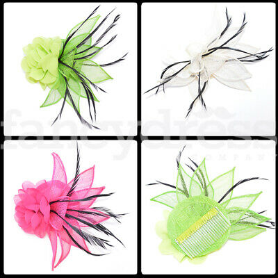 Flower Feather Fascinator Comb Wedding Bridesmaid Party Ladies Day Ascot NEW