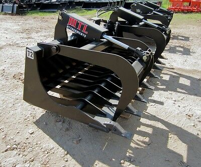 "MTL Attachments HD 72"" Skid Steer Rock Grapple Bucket Twin Cylinder -$169 ship"
