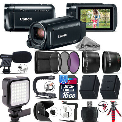 Canon VIXIA HF R800 + Mic + LED + Telephoto & Wide Angle Lens &More! - 32GB Kit
