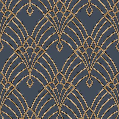 Astoria Art Deco Wallpaper Rolls Dark Blue / Gold - Rasch 305340