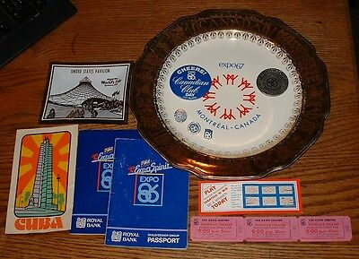 Expo 67 - 74 - 86 Plate Ashtray Passport Books Buttons Pins Tickets Sticker 14x