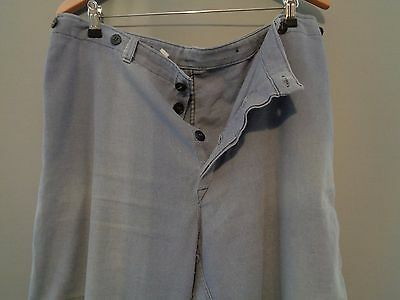 Vtg French faded indigo blue hobo work trousers worker chore pants