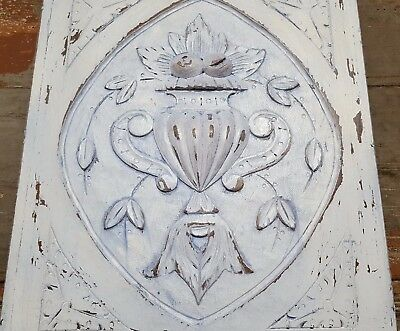 """Shabby Carved Wood Panel 21"""" Antique French Volute Bowl Fruit Salvaged Carving"""