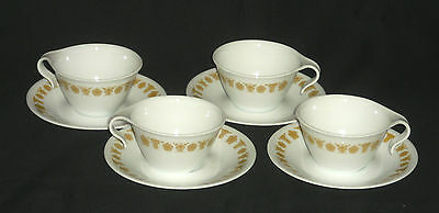 4 Open Handle Cup & Saucer Sets Corelle Butterfly Gold Discontinued Vtg Pattern