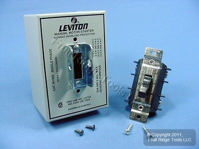 Leviton Manual Motor Starter Switch Double Pole Single Throw w/Lockout 30A N1302