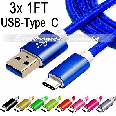 Lot 3x 1FT  Nylon Braided Rope USB-C Type-C 3.1 Data Sync Charger Charging Cable