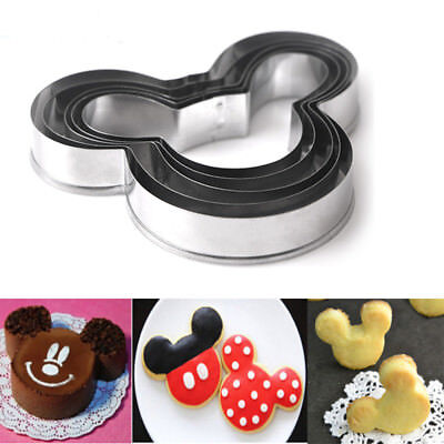 5Pcs Mickey Mouse Cookies Cutter Sugarcraft Cake Decorating Pastry Baking Mold