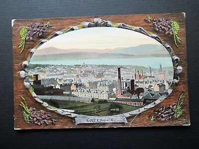 GREENOCK, GENERAL VIEW, EMBOSSED DECORATION - VALENTINE'S SERIES No 01162 1900s