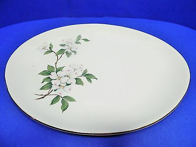 Vintage Dogwood Pattern Oval Platter Marked USA Server Country Cottage Style