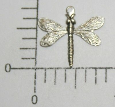 34844         2 Pc  Matte Silver Oxidized Dragonfly Brass Charm Jewelry Finding
