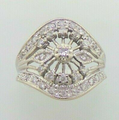Beautiful Genuine Sparkling Diamond & Solid 10K White Gold Ring Band