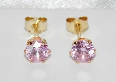 Beautiful 9ct Yellow Gold 0.50ct Pink Topaz Ladies Stud Earrings -