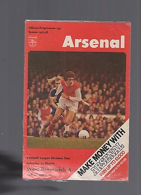 oo Arsenal v West Brom 1977-78 35th march Football Programme oo