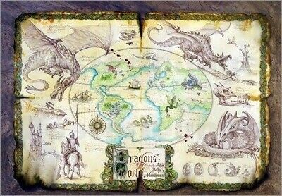 DRAGONS OF THE WORLD ~ GARRY WALTON ~ 24x36 FANTASY ART POSTER ~ NEW/ROLLED!