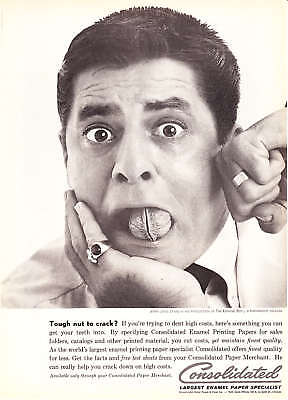 """1961 Jerry Lewis photo """"Tough Nut to Crack"""" Consolidated Paper vintage print ad"""