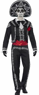 Mens Senor Day Of The Dead Halloween Costume Skeleton Fancy Dress Outfit Bond