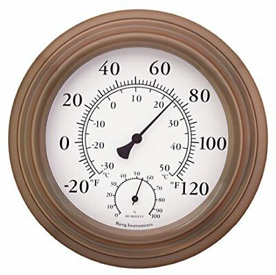 """Antique Copper Finish Decorative Readable Thermometer and Hygrometer 8"""" by Bjerg"""