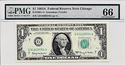 $1 1963A Federal Reserve Note Chicago S/N G91809554A PMG 66 Gem Unc
