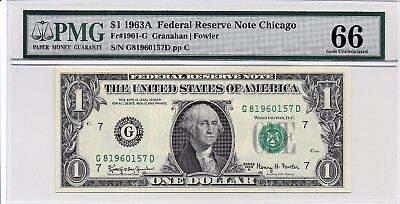 $1 1963A Federal Reserve Note Chicago S/N G81960157D PMG 66 Gem Unc
