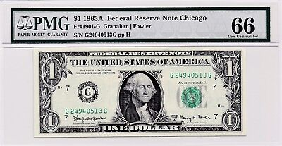 $1 1963A Federal Reserve Note Chicago S/N G24940513G PMG 66 Gem Unc